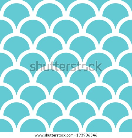 Abstract blue fishscale seamless pattern background - stock vector