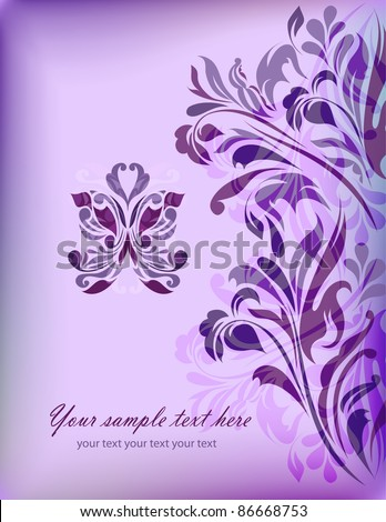 Abstract blue floral background with your text for your card, invitation, wedding, illustration, wallpaper, postcard, greeting (vector version eps 10) - stock vector