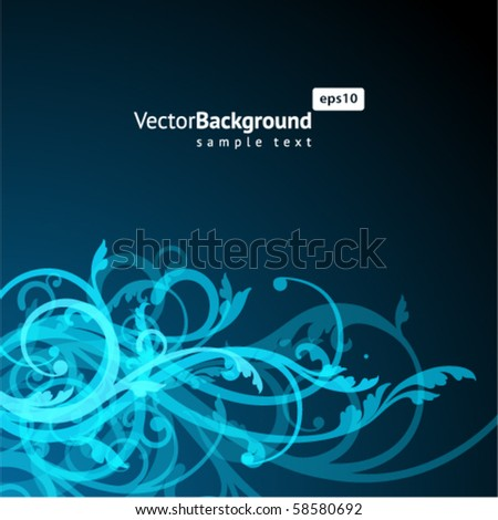 Abstract blue floral ornamental background - stock vector