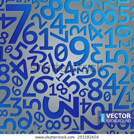 Abstract blue gradient extruded random numbers on grey background seamless pattern. RGB EPS 10 vector illustration - stock vector