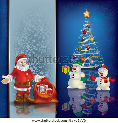 Abstract blue greeting with Christmas tree and Santa Claus