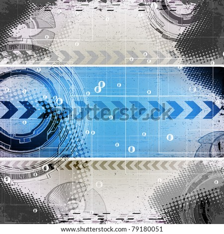 abstract blue grunge technology background with place for text - stock vector