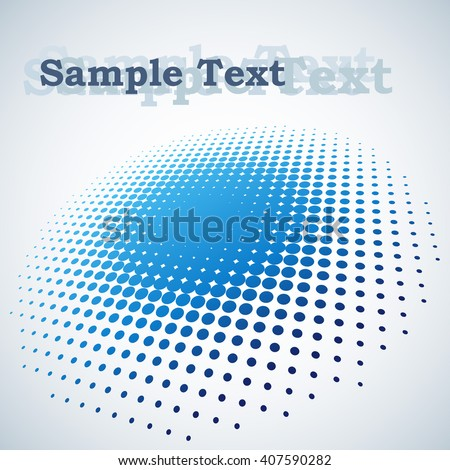 Abstract blue halftone spot vector background with copy space. - stock vector