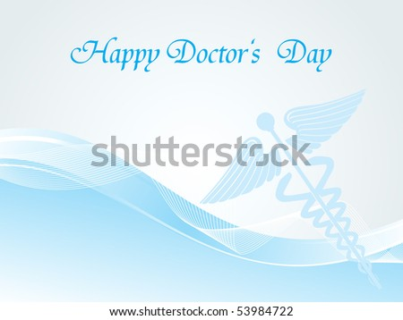 abstract blue halftone, wavy background with caduceus - stock vector