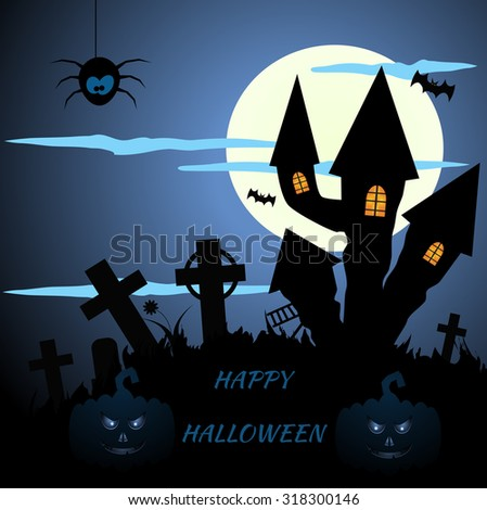 Abstract blue halloween background eps 10 - stock vector