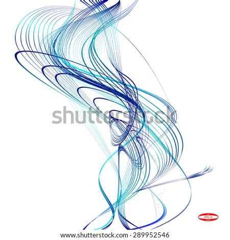abstract blue line turquoise wave cyan band isolated on white background. vector illustration