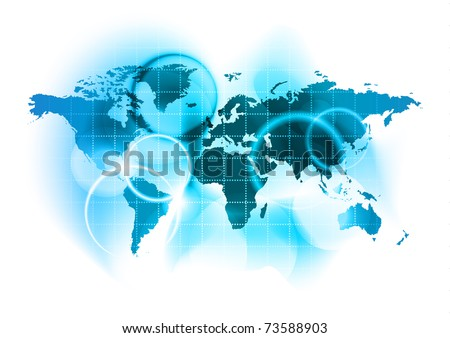 abstract blue map of the world - stock vector