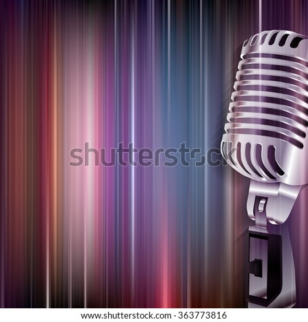 abstract blue music background with retro microphone - stock vector