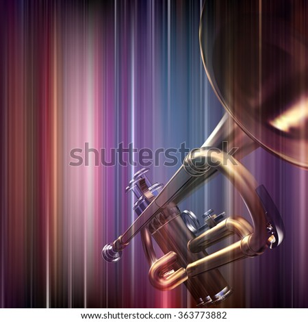 abstract blue music background with trumpet - stock vector