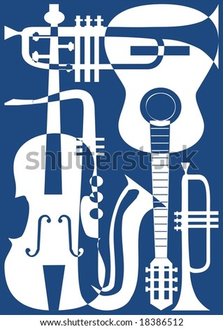 Abstract blue musical instruments, vector illustration. - stock vector