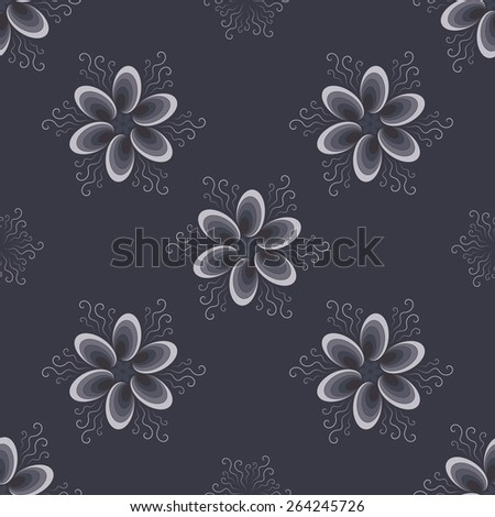 Abstract blue pattern with flowers - stock vector