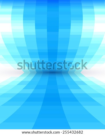 Abstract blue perspective background, shape design - stock vector