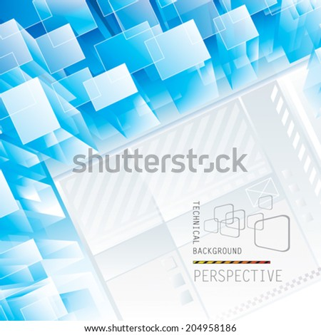 Abstract blue perspective technical background. Vector.  - stock vector