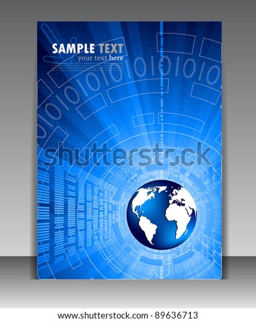 Abstract blue poster with globe - stock vector