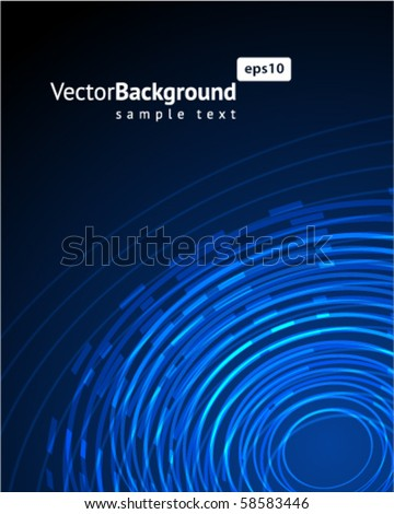 Abstract  blue radio wave background - stock vector