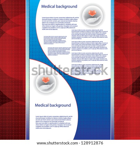 Abstract blue red grid medical background - stock vector