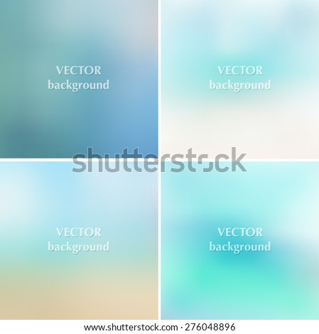 Abstract blue sea summer blurred vector backgrounds set 10 eps - stock vector