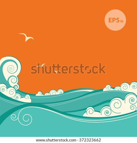 Abstract blue sea waves. Vector illustration of sea landscape - stock vector