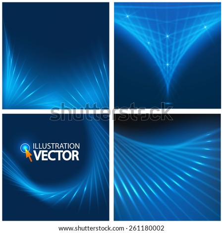 Abstract blue shining geometric background set. Vector illustration - stock vector