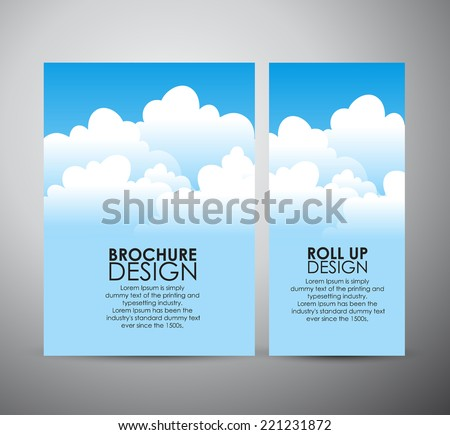 Abstract blue sky with cloud brochure business design template or roll up. - stock vector