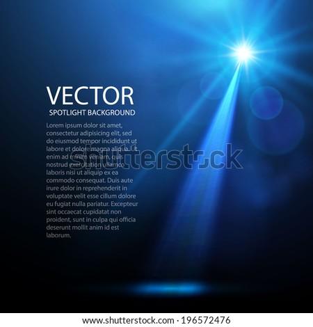 Abstract blue spotlight background.  Vector illustration - stock vector