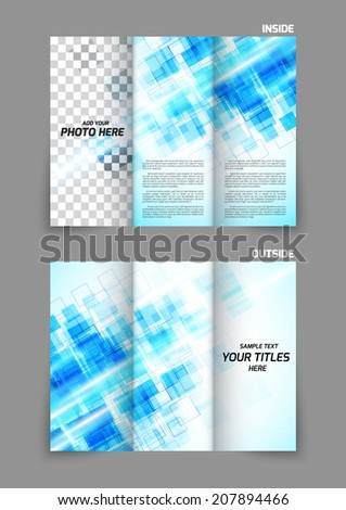 Abstract Blue Square Technology Digital Tri Fold Brochure Template