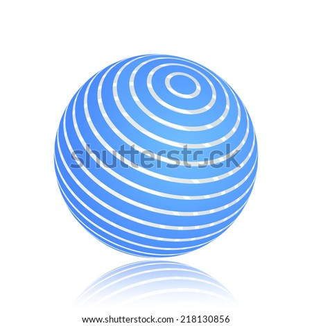 Abstract blue stripe planet sphere. Isolated on a white background. Vector illustration, eps 10.  - stock vector