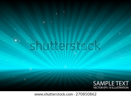 Abstract blue sun rays spreading background  template - Abstract sparks over blue sunrise background   illustration - stock vector