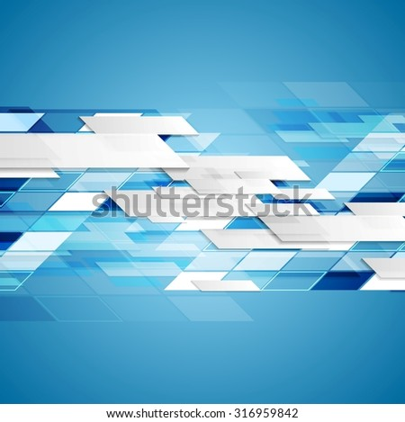 Abstract blue technology background. Vector geometric design - stock vector