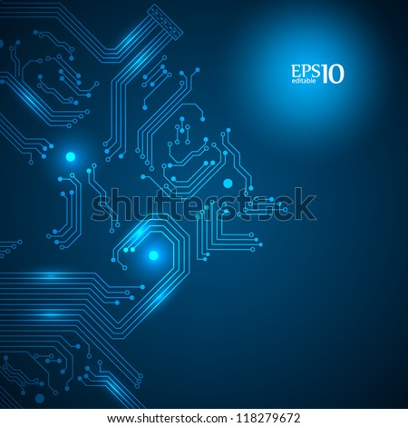 Abstract blue technology background with circuit board texture. Vector illustration. - stock vector