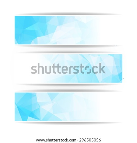 Abstract Blue Triangular Polygonal banners set - stock vector
