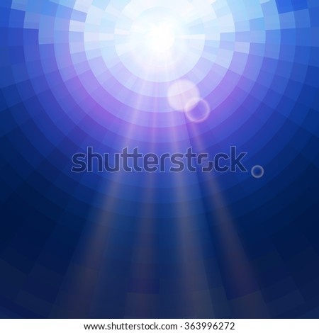 Abstract Blue underwater circle mosaic vector background with sun rays. Technology concept backdrop - stock vector