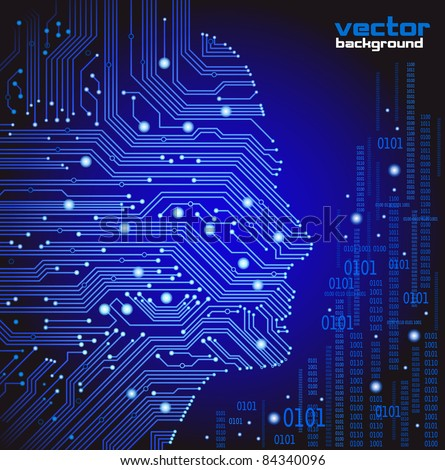 abstract blue vector background with high tech circuit board - stock vector