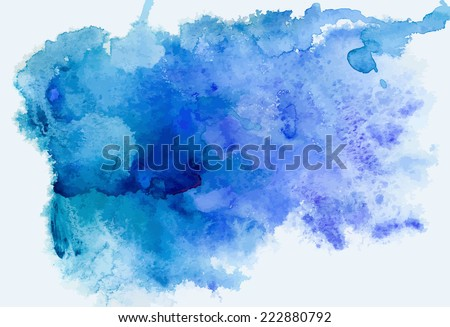 Abstract blue watercolor background, traced vector image - stock vector