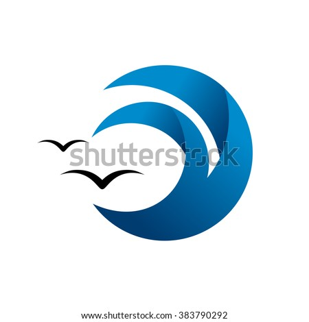 Abstract blue wave, ocean surge badge, sea logo. Abstract water splash and seagulls. - stock vector