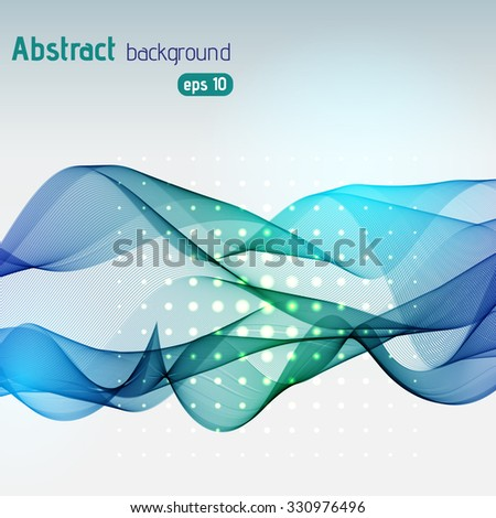 Abstract blue wave on light background, vector illustration