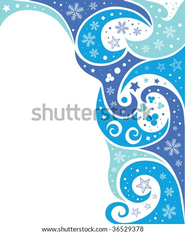 abstract blue waves and snow background vector (series) - stock vector