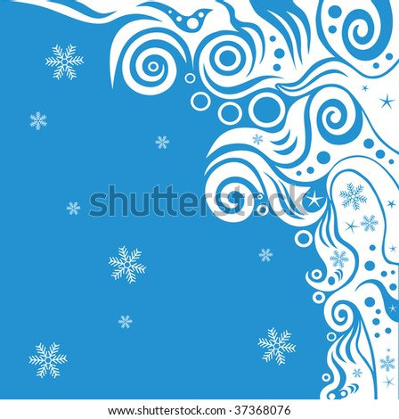 abstract blue waves and snow background vector series - stock vector