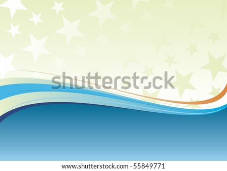 Abstract blue wavy background - stock vector