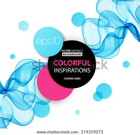 Abstract blue wavy lines.  Colorful vector background - stock vector