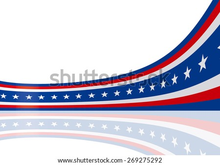 Abstract blue white red waving ribbon flag / Patriotic wave, vector