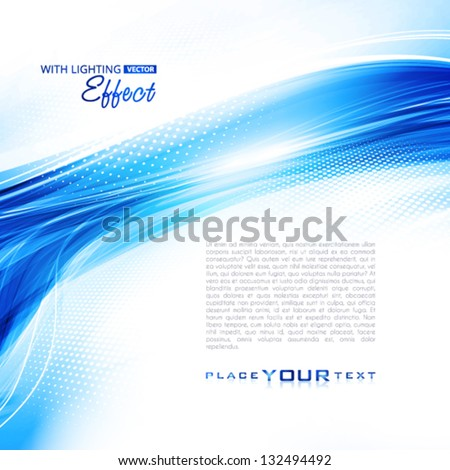 Abstract blue winter background with lighting effect. Vector