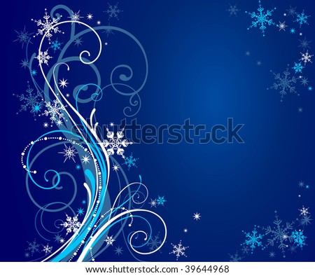 Abstract blue winter background with space for text
