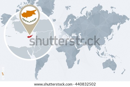 Abstract blue world map magnified cyprus stock photo photo vector abstract blue world map with magnified cyprus cyprus flag and map vector illustration gumiabroncs Choice Image