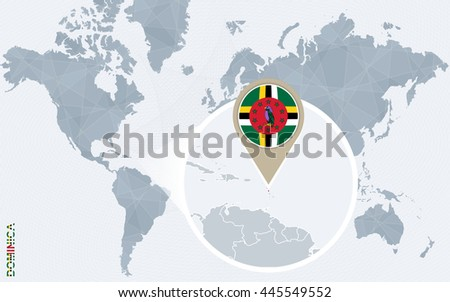 Abstract blue world map with magnified Dominica. Flag and map. Vector Illustration.