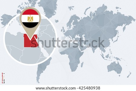 Abstract blue world map magnified egypt stock vector 425480938 abstract blue world map with magnified egypt egypt flag and map vector illustration gumiabroncs Gallery