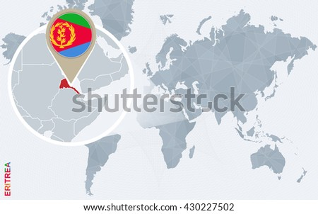 Abstract blue world map with magnified Eritrea. Eritrea flag and map. Vector Illustration.