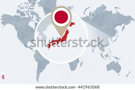 abstract blue world map with magnified japan japan flag and map vector illustration