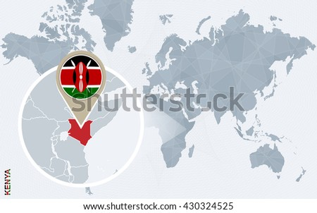 Abstract blue world map magnified kenya stock vector 430324525 abstract blue world map with magnified kenya kenya flag and map vector illustration gumiabroncs Images