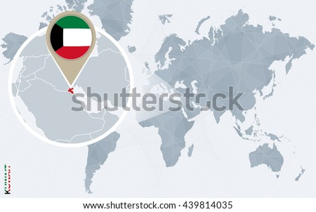 Abstract blue world map magnified kuwait stock vector 2018 abstract blue world map with magnified kuwait kuwait flag and map vector illustration gumiabroncs Image collections